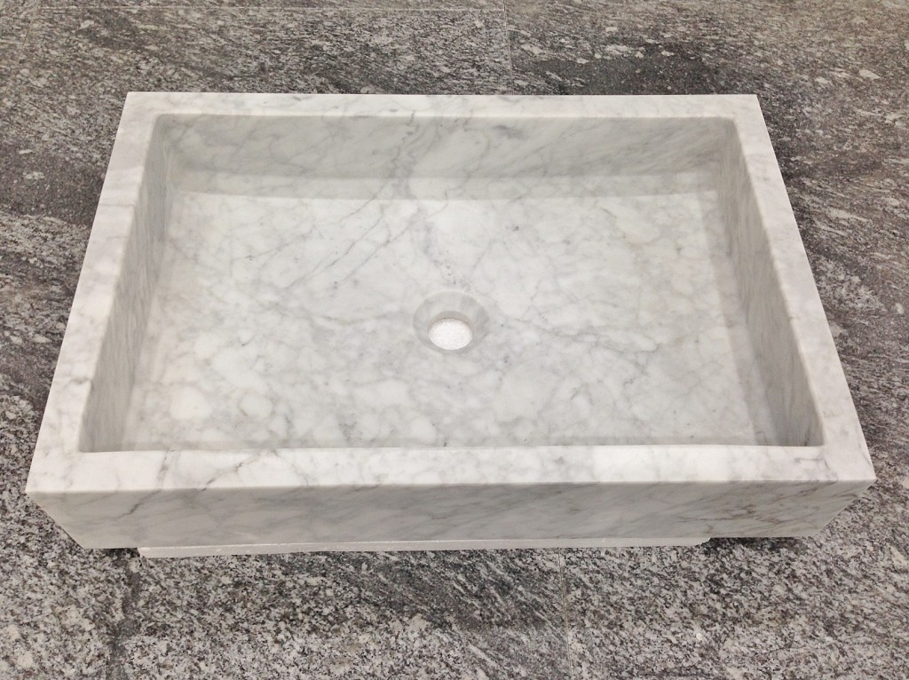Carrara Marble Rectangle Sink 450 x 650