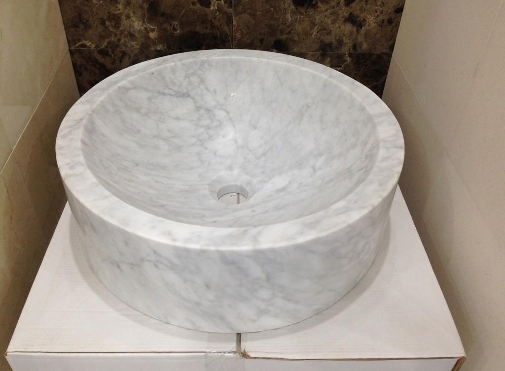 Carrara Marble Round Sink 450 x 450 x 14